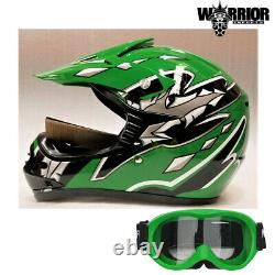 Kids Dirt Bike Helmet Green, with goggles, Youth Sizes, motocross, quad, ATV